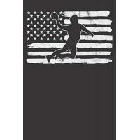USA Notebook: Handball Player USA Flag 4th Of July Fourth Vintage Dot Grid 6x9 120 Pages Journal