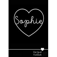 Namensgeschenke für Sophie Sophie Dot Grid Notebook: Personalized Name Journal Black Heart - Punktraster Notizbuch personalisiert mit Namen