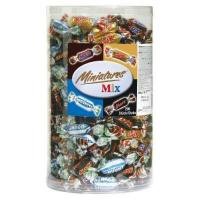 Kollegen Miniatures Mix Schokoriegel | Mars, Snickers, Bounty, Twix | 296 Riegel in einer Box (1 x 3 kg)