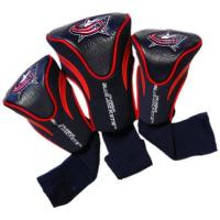 Columbus Blue Jackets Team Golf NHL Columbus Blue Jackets Contour Golf Club Headcovers (3 Count), Numbered 1, 3, X, Fits Oversized Drivers, Utility, Rescue & Fairway Clubs, Velour Lined for Extra Club Protection