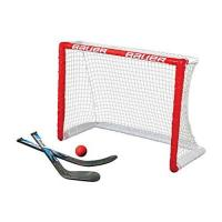 Fischtown Pinguins BAUER - Knee Hockey Tor Set inkl. Sticks & Ball I Outdoor-/Indoor Tor I Inline-Hockey I Tor für Hockeybälle & Pucks I Streethockey-Training I Feldhockey I inkl. 2 Mini Sticks & Schaumstoffball - Rot