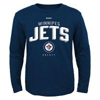 Winnipeg Jets Outerstuff NHL Winnipeg Jets Boys 8-20 Arched Standard Long Sleeve Tee, Navy, Medium