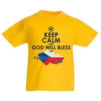 Toulouse Kinder T-Shirt God Will Bless Czech national Team (9-11 Years Gelb Mehrfarben)
