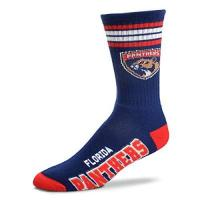 Florida Panthers For Bare Feet Herren NHL 4 Stripe Deuce Crew Socken, Herren, Florida Panthers, Large (10-13)