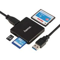 SD Huesca Hama Kartenleser USB 3.0 (Kartenlesegerät für SD | SDHC | SDXC | microSD | microSDHC | microSDXC | CF Speicherkarte, Card Reader mit USB Kabel für Windows PC|Mac|Notebook|Laptop|TV) schwarz