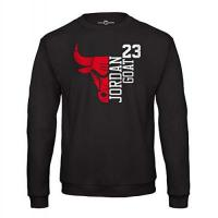Chicago Bulls Jordan Sweat Shirt 23 Goat Chicago Herren Pullover Basketball Bulls Michael (S, Schwarz)