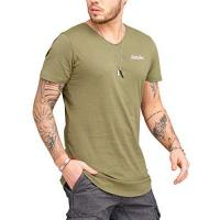 Kollegen JACK & JONES Herren T-Shirt Kurzarmshirt Oversize Longshirt Basic V-Neck (Medium, Dusty Olive)