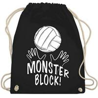BERLIN RECYCLING Volleys Shirtracer Volleyball - Monsterblock! - Unisize - Schwarz - volleyball rucksack - WM110 - Turnbeutel und Stoffbeutel aus Baumwolle