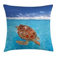 Geschenkideen - Beauty & Wellness Turtle Throw Pillow Cushion Cover, Sea Turtle Chelonia Mydas on Water Surface Caribbean Beach Tropics, Decorative Square Accent Pillow Case, 18 X 18 inches, Violet Blue Aqua Light Brown