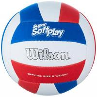 Volleyball Wilson Unisex-Adult SUPER Soft Play VB WHRDBLUE Volleyball, White/RED/Blue, Official