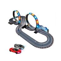 Geschenke für Schienenfahrzeug-Elektriker/in HXGL-Schienenfahrzeuge Kinder elektrische Version Track Racing Double Sport Fernbedienung Beleuchtung Track Set Boy Geschenk (Color : Electric Version, Size : 5m)