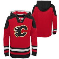 Calgary Flames OuterStuff NHL Kinder Hoody Calgary Flames Youth Ageless Must-Have Eishockey Kaputzenpullover Hooded Sweater (M (10/12))