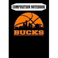 Milwaukee Bucks Composition Notebook: Bucks Basketball, Milwaukee Skyline - Milwaukee Bucks, Journal 6 x 9, 100 Page Blank Lined Paperback Journal/Notebook