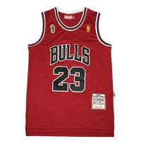 Chicago Bulls Michael Jordan 96-97 Championship Logo Basketball Trikots #23 Chicago Bulls Classic Herren Stickerei Retro Basketball Uniform T-Shirt (S-2XL) L rot