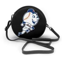 New York Mets Yuanmeiju Runde Umhängetasche New York Baseball Fans Mr. Met Nano Printing Fashion Leather One Shoulder Round Bag