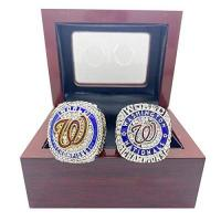 Washington Nationals 2 Stück 2020 Washington Nationals Baseball-Meisterschaft Replik-Ring für Fans Replica-Geschenksammlung mit Anzeigekoffer 9#