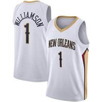 New Orleans Pelicans DXG NBA New Orleans Pelicans #1 Zion Williamson Basketball Shirt Sommer Basketball Uniform Stickoberteile Basketballanzug Atmungsaktives Schnelltrocknen Ärmelloses Sportwestenoberteil,Weiß,M